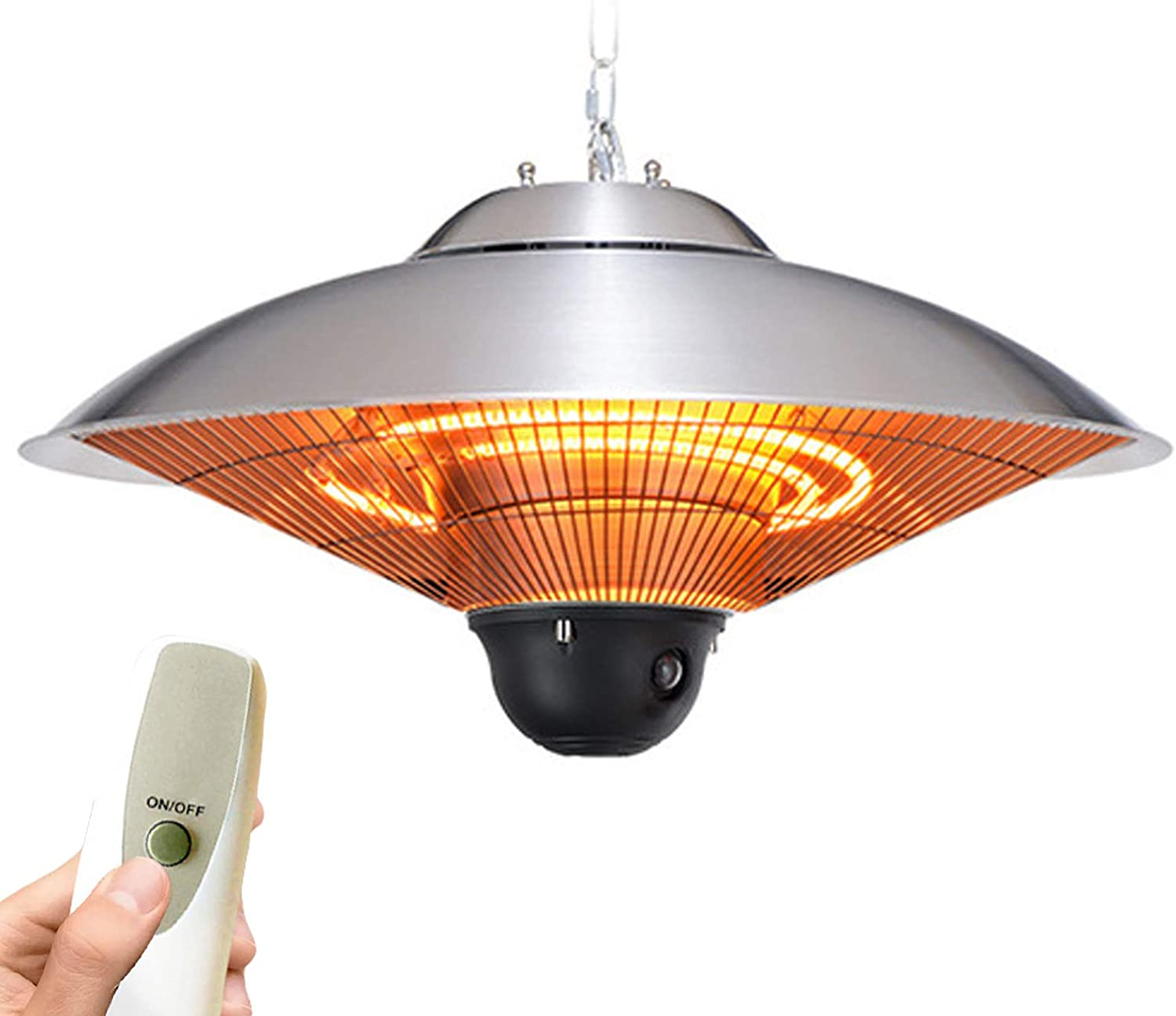 Waterproof 3 Power Settings Parasol Heaters For Halogen Garden 2500w Ceiling Patio Heater S Electric Hanging Patio Heaters Outdoor Umbrella-Shaped Infrared Heater With Remote Control