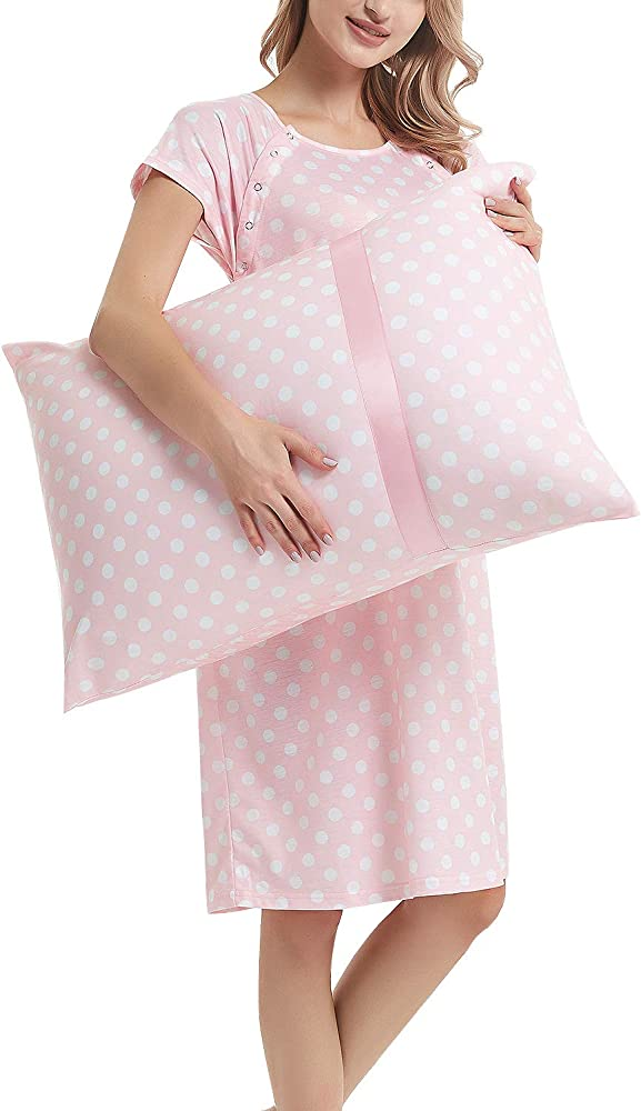 Maternity Labor Delivery Gown Hospital Nightgown Nursing Nightdress With Matching Pillowcase Pink Polka Dot S At Amazon Women S Clothing Store