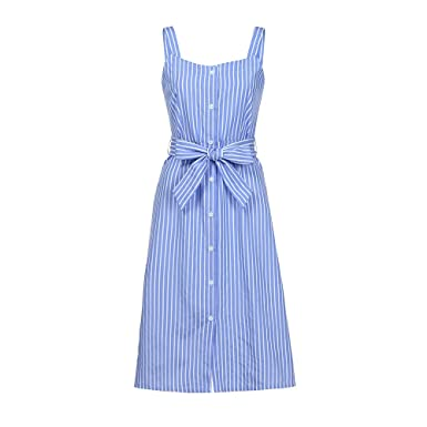 c884832289 Women s Party Blue Striped Dress Sexy Summer Bandage Single-Breasted Dress  (Blue