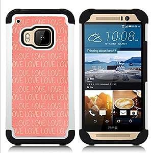 """Hypernova Híbrido Heavy Duty armadura cubierta silicona prueba golpes Funda caso resistente Para HTC One M9 /M9s / One Hima [Amor Peach Rosa patrón romántico""""]"""