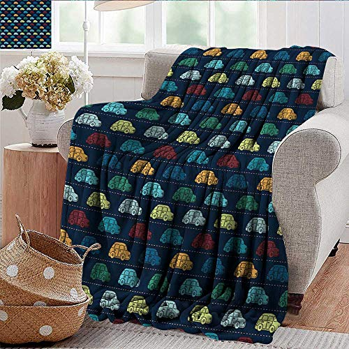 Xaviera Doherty Soft Cozy Throw Blanket Cars,Mini Retro Vehicle on Road for Bed & Couch Sofa Easy Care 35