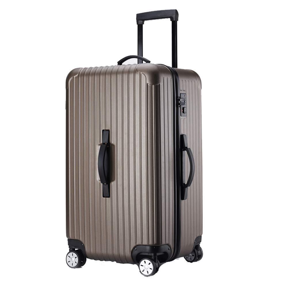 ABSハードシェル大容量旅行トロリーケース4輪荷物回転大型スーツケースキャビン手荷物黒-brown-L(30in) B07T48S34J brown L(30in)