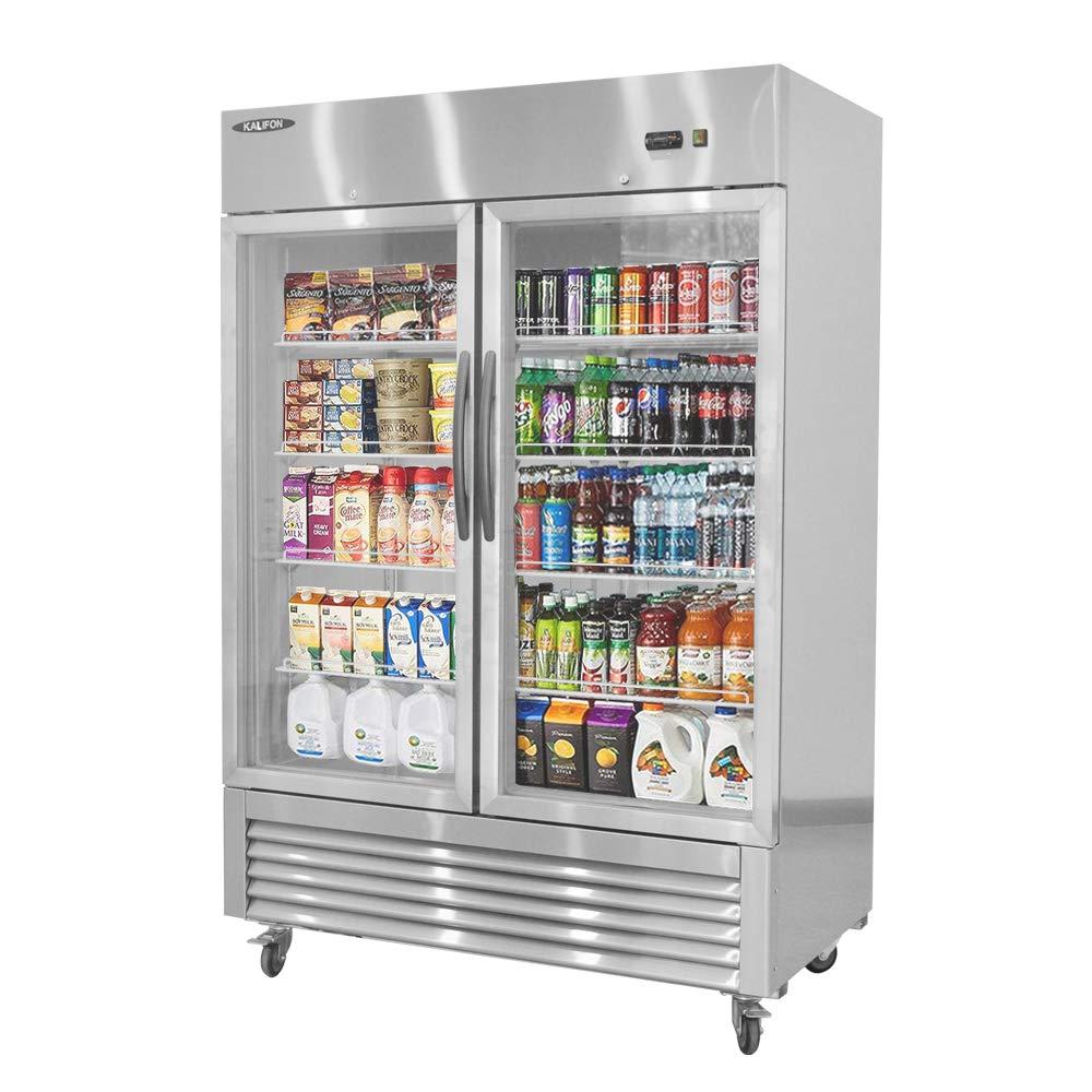 kalifon Reach-in Commercial Display Refrigerator Merchandiser with LED Lighting 49 cu.ft Two Glass Door Upright Stainless Steel Beverage Cooler, 33℉~41℉