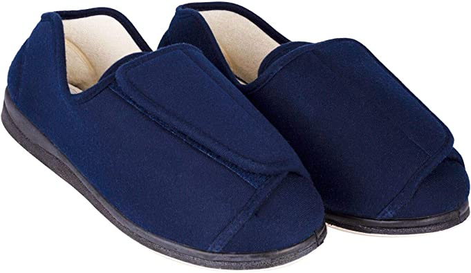 Footwear with Adjustable Velcro Closure Helps Athritis Edema Swollen Feet EZSIMPLY Unisex Diabetic Slippers Extra Wide Non-Slip with Cozy Adaptive Memory Foam Cushion