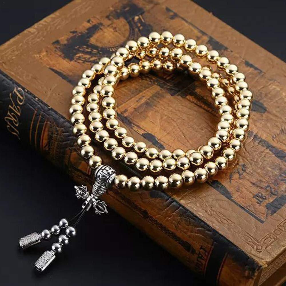 DaJun Outdoor Stainless Steel Metal Gold Silver 108 Buddha Beads Necklace Prayer Buddha Metal Copper Whip Chain Car Pendant Self Bracelet