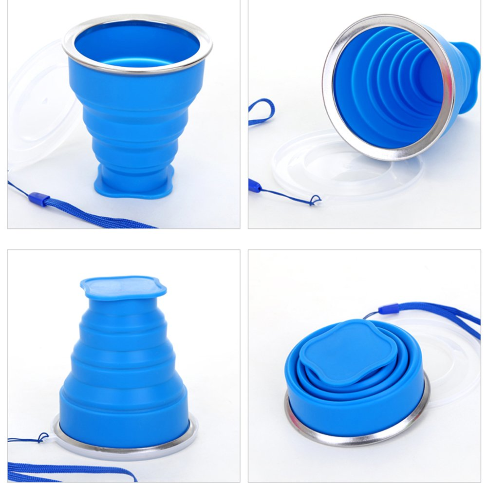 Reusable Mug with Lids Best for Camping,Hiking,Travel 4 Pack Outdoor No BPA Portable Cups Lightweight Collapsible Cup with Lanyard