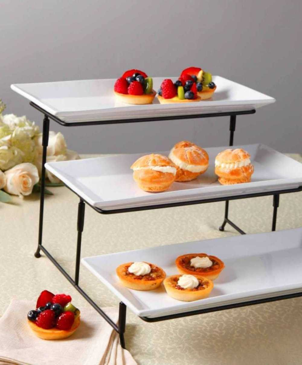 Amazoncom Porcelain 3 Tier Serving Tray Rectangular Serving