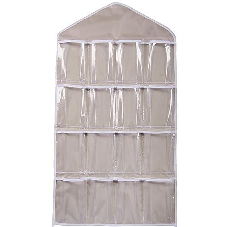 16 bolsillos claro perchero de bolsa de para colgar de la puerta zapatero armario de ropa interior calcetines de sujetador de almacenamiento ...