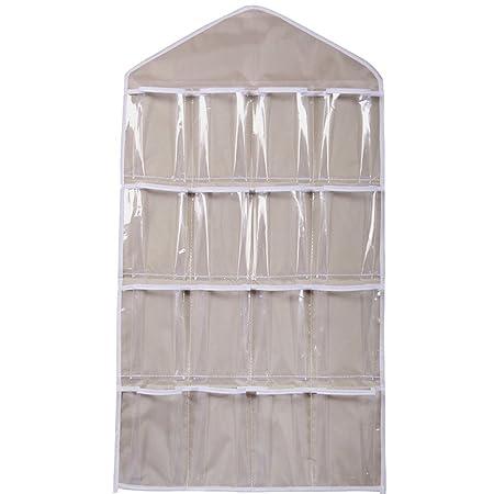 16 Pockets Clear Over Door Hanging Bag Shoe Rack Hanger Underwear Bra Socks Closet  Storage Organizer