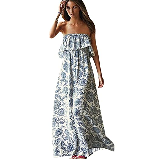 9675759733 Soly Tech Sexy Women Summer Boho Long Maxi Evening Party Floral Beach  Dresses at Amazon Women s Clothing store