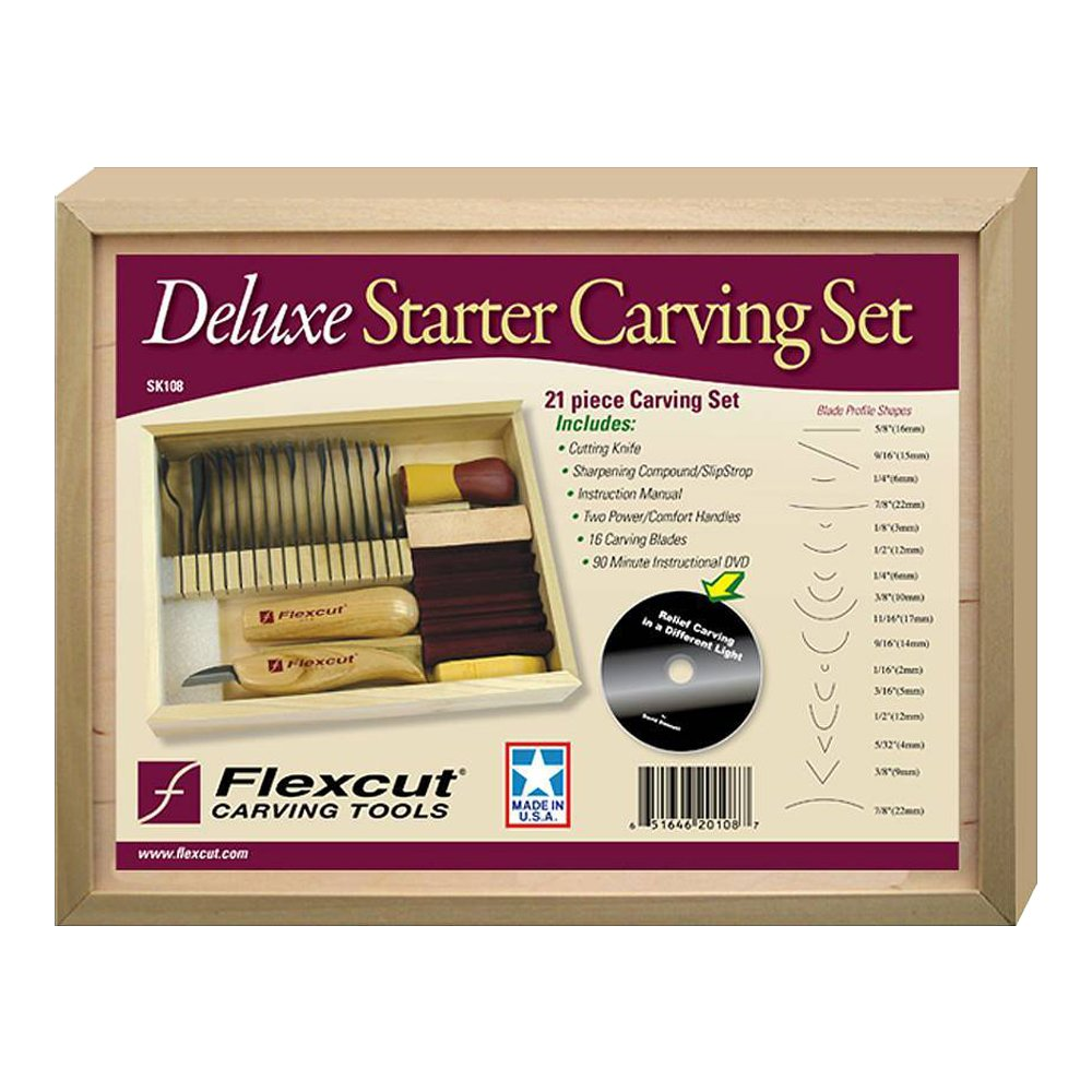 Flexcit Deluxe Starter Carving Set, with 16 Carving Blades, Cutting Knife, Two Quick Connect Handles, and DVD (SK108) by Flexcut