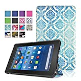 TNP New Fire 7 Case (Damask Blue) - Ultra Slim Lightweight Folding Folio Cover Stand with Hard Rubberized Back for Amazon New Fire 7 Inch (5th Generation) 2015 Release Tablet
