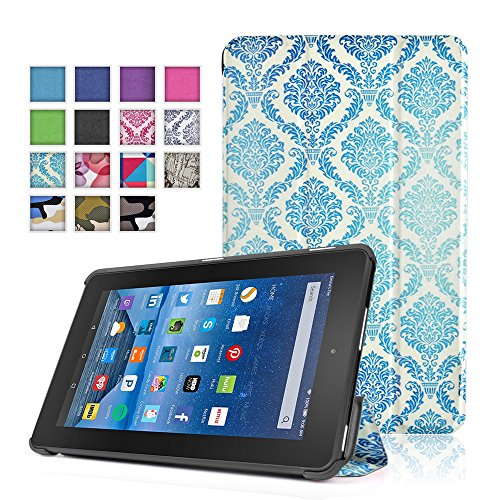 TNP New Fire 7 Case (Damask Blue) - Ultra Slim Lightweight Folding Folio Cover Stand with Hard Rubberized Back for Amazon New Fire 7 Inch (5th Generation) 2015 Release - Mustache Keyboard