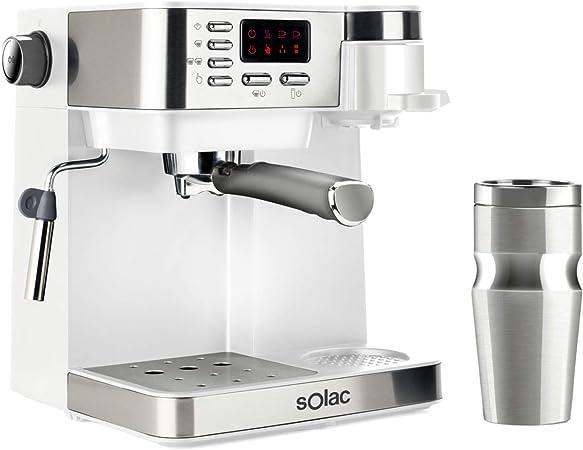 Solac CE4497 Multi Stillo 20 bar - Cafetera combinada multifunción 3 en 1: cafetera espresso + cafetera goteo + capuccino. Termo Portátil 320ml Inox. Libre BPA. Extra Cream. Vaporizador. Blanco/Inox.: Amazon.es: Hogar