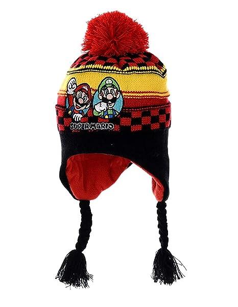 Mario Bros - Gorro - para niño rojo/negro 29/32 : Amazon.es: Ropa y accesorios