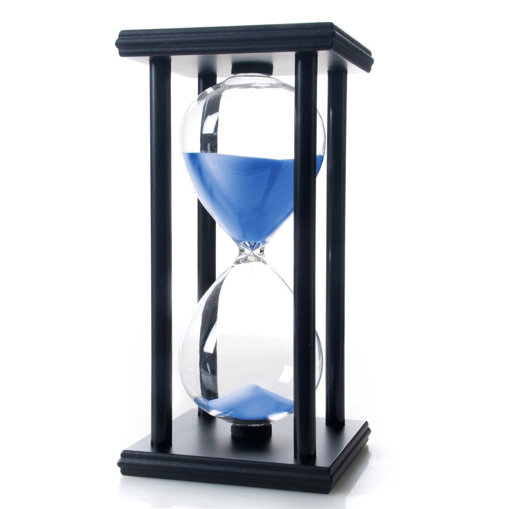 Bellaware 60 Minutes Hourglass, Wood Sand Timer, Blue