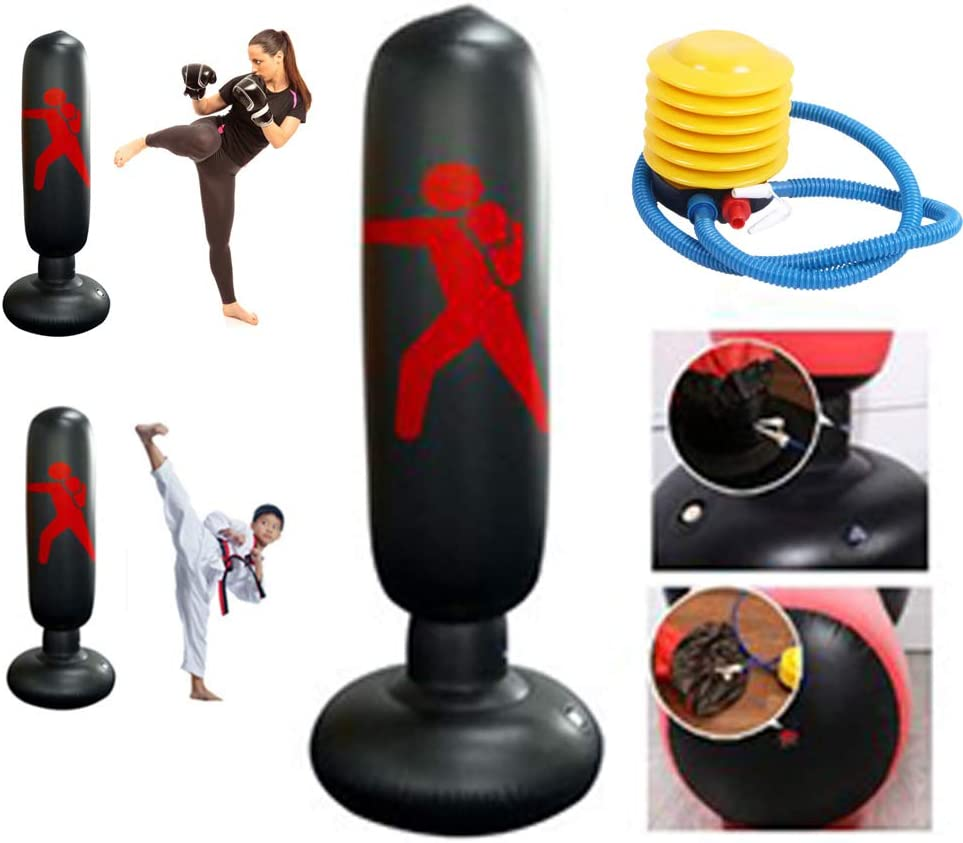 63/'/' Inflatable Boxing Punching Bag Free Standing Adult Kids Fitness Training