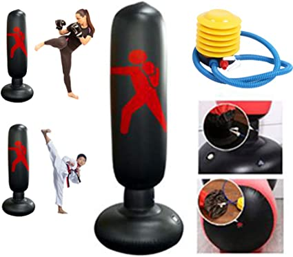 Fitness Punching Bag HMOOY Inflatable Punching Bag for Kids Freestanding Boxing Bag Bounce Back for Practicing Karate,Taekwondo Fitness Sport Play Adults De-Stress Boxing Target Bag 160CM