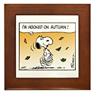 CafePress Autumn Addiction Framed Tile, Decorative Tile Wall Hanging
