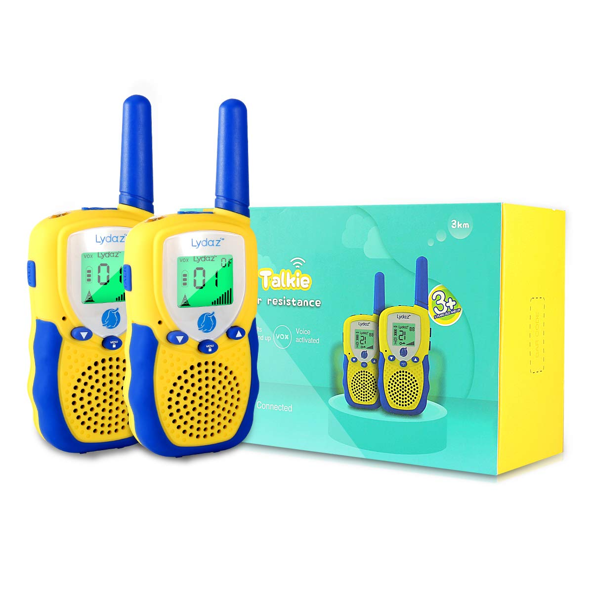 Lydaz Walkie Talkies for Kids, 22 Channels 3 Miles Long Range Electronic Two Way Radios with Rubber Finishing, Indoor Outdoor Play Adventure Toys Gift for Boys Girls Age 3 4 5 6 7 8 9 10 Years Old