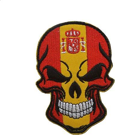 Ohrong España bandera nacional España cráneo bordado parche insignia española emblema gancho y lazo apliques para jeans chaquetas gorras bolsas: Amazon.es: Hogar