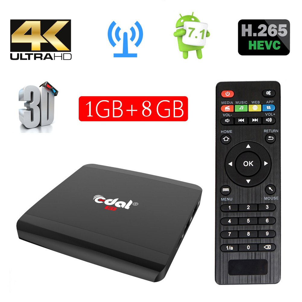 Edal R1 Android 7.1 1GB/8GB Smart TV Box S905W Quad-core Cortex A7 1.5GHz 32bit 4K2K Support 802.11 b/g/n, 2.4G wifi by Edal