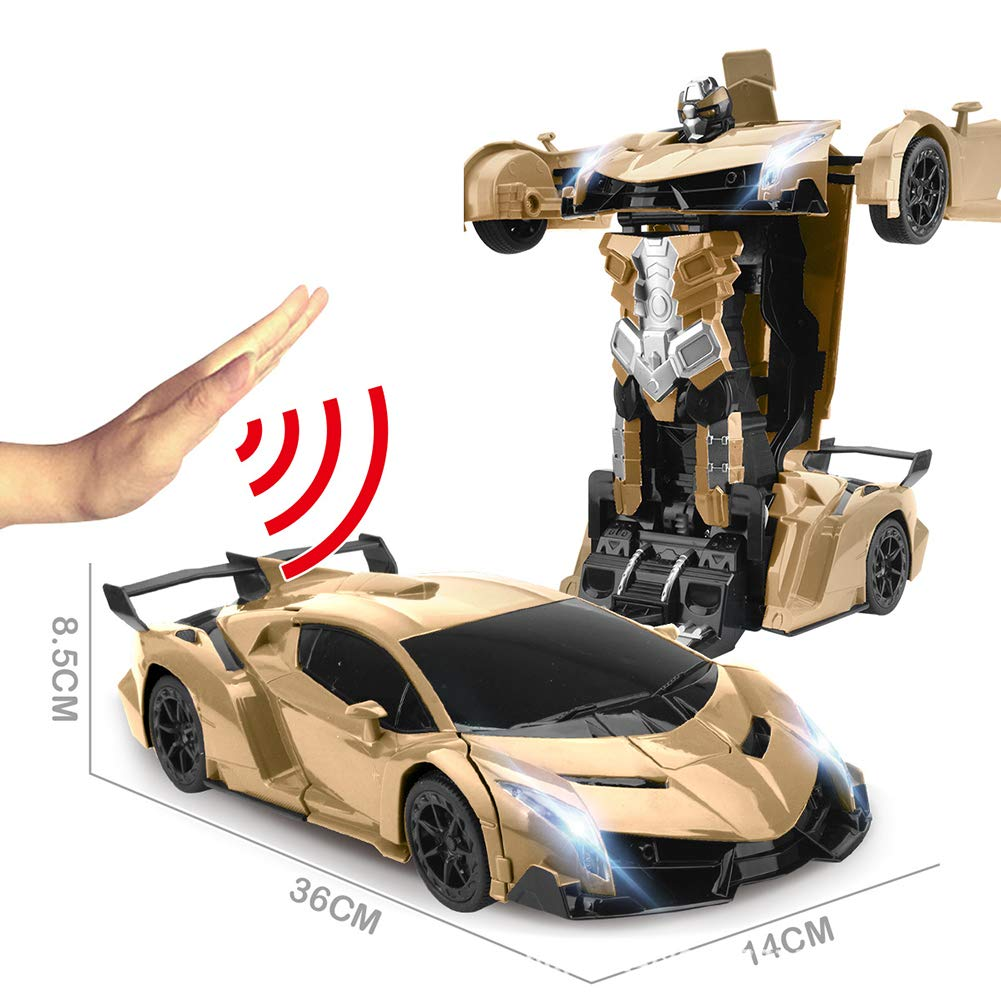JIAAE Remote Control Car Gesture Sensing Transformers 1:12 Ratio Simulation Racing Car Model Great Gift for Boys and Girls,Gold