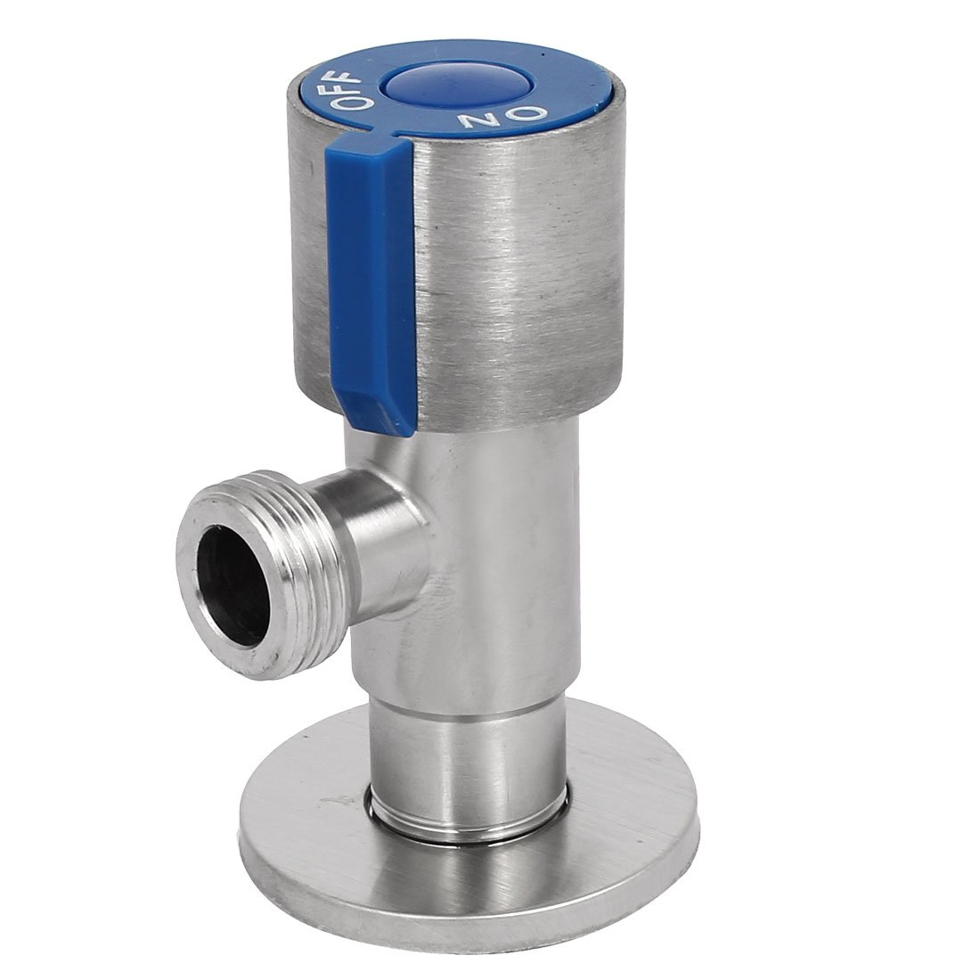 uxcell M20 Dia Male Thread 304 Stainless Steel Brass Core Angle Stop Valve Silver Tone