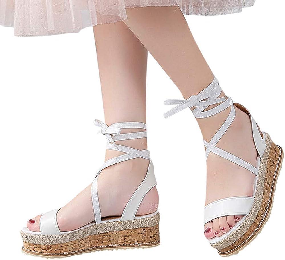 Sandales Femmes Pas Cher,LANSKIRT Femme Poissons Bouche Sandale Chaussures De Plage Talon Plate Printemps /Ét/é Boh/ême Shoes Sandales Compens/ées Imperm/éables