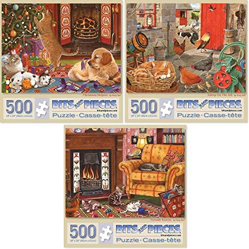"Bits and Pieces - Value Set of Three (3) 500 Piece Jigsaw Puzzles for Adults - Each Puzzle Measures 16"" x 20"" - Christmas Helpers, Asleep on The Job, Fireside Kittens Jigsaws via Artist Tracy Hall"