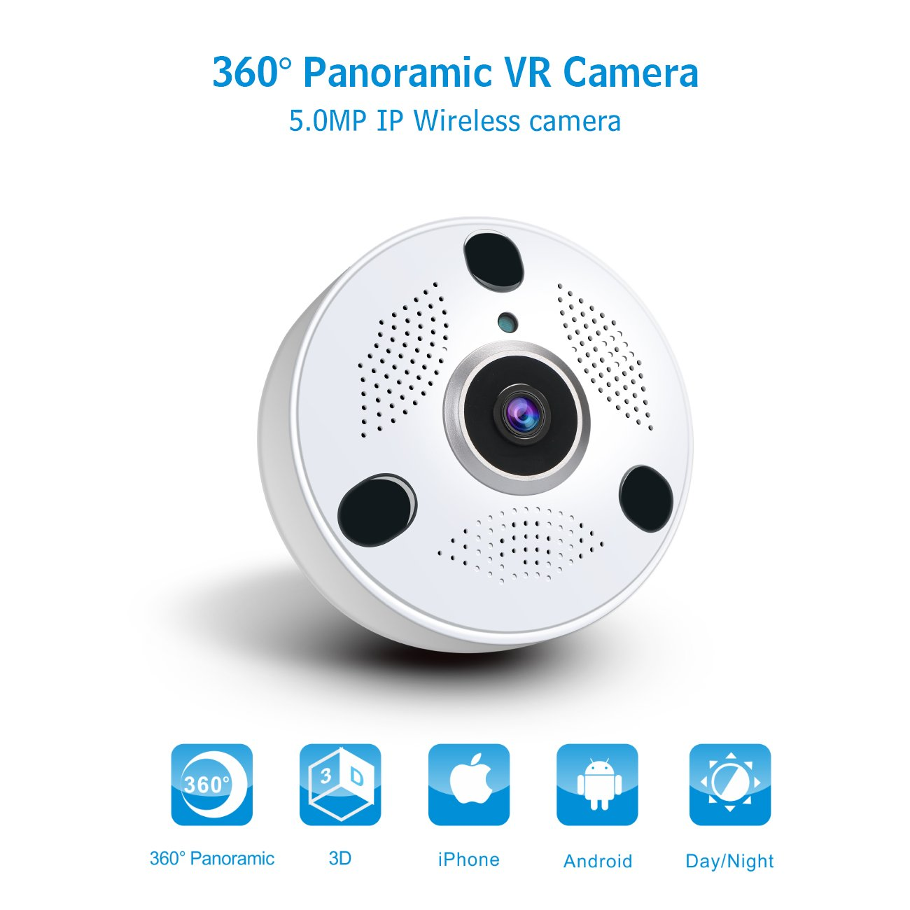 anni 360 Panoramic WiFi Security Camera, 5 0MP Fish-Eye Lens, No Blind  Spot, Two-Way Audio & Night Vision,Only Support Andriod APP