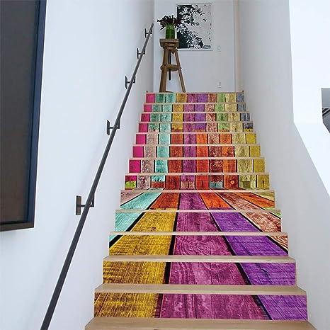 MTX Ltd Estilo Occidental Creativo decoración de la Pared 3D Adhesivo de Vinilo Escaleras Pegatina - para Escalera Decoración extraíble Nursery Cabina patrón de Papel calcomanía: Amazon.es: Deportes y aire libre
