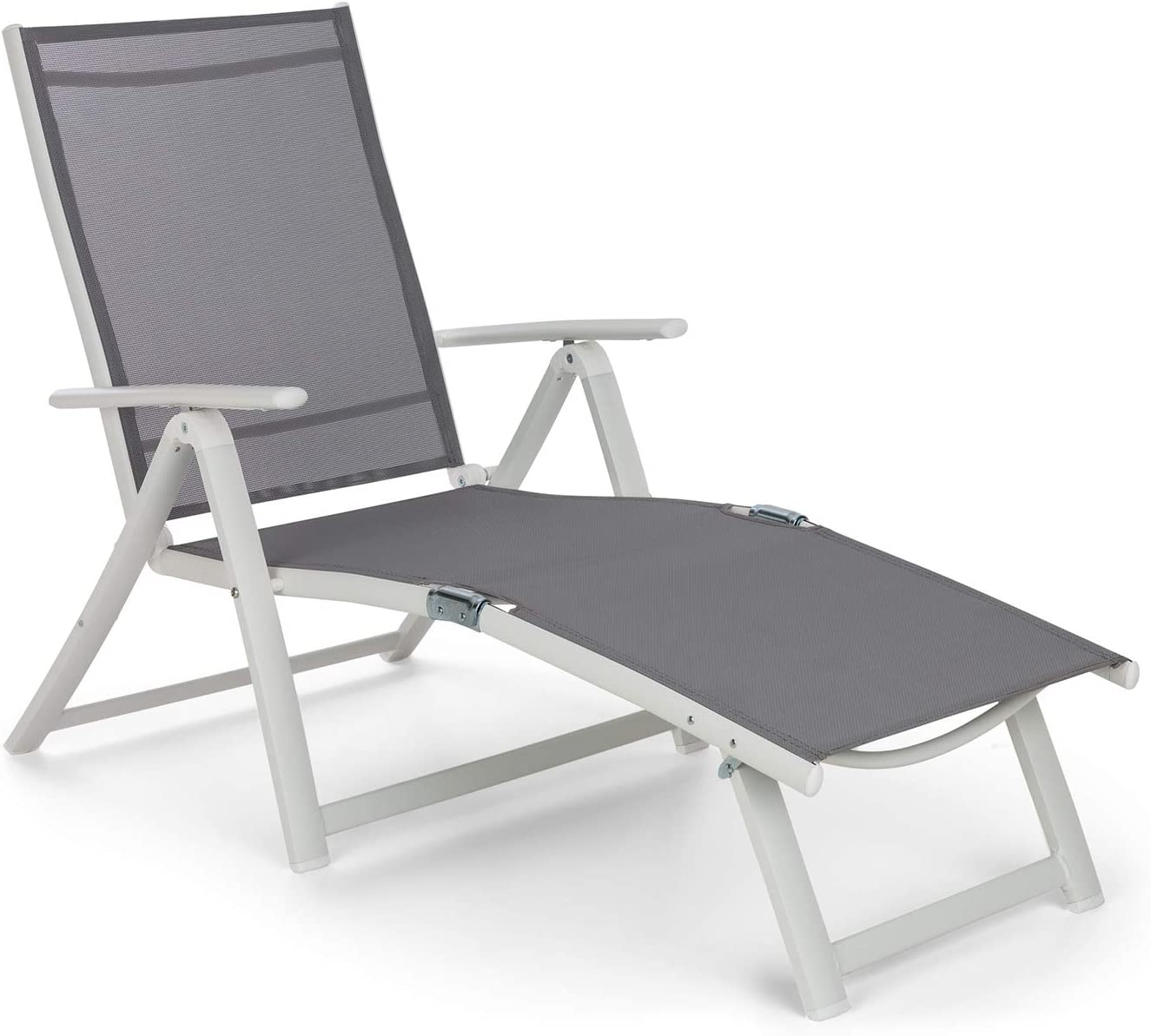 Blumfeldt Pomporto Lounge Tumbona de Exteriores - Hamaca para Tomar el Sol, Superficie de 173,5 x 51 cm, Respaldo reclinable a 7 Alturas, Superficie hidrófuga, ComfortMesh, Plegable, Blanco