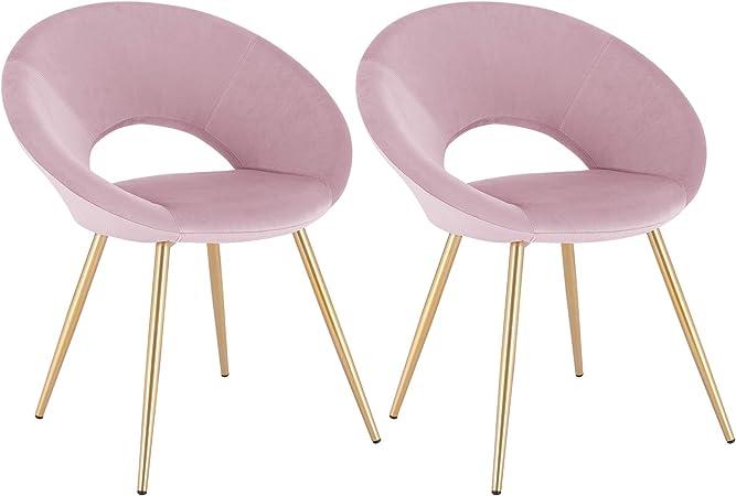 WOLTU Lot de 2 Chaises de Salle à Manger avec Velours siège et métal Pieds,Chaise de Chambre à Coucher Rose BH230rs 2