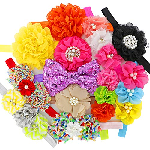 Multilayer Silk Artificial Chiffon Flowers Headbands Boutique Hair Bows For Girls Babies Kids Teens Set Of 12 ()