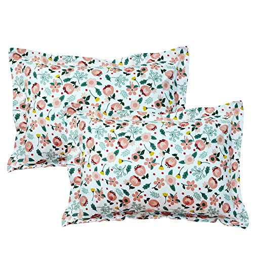 Brandream Sweet Floral Pillow Cases Set of 2 Standard Size Decorative Pillow Covers 100% Cotton