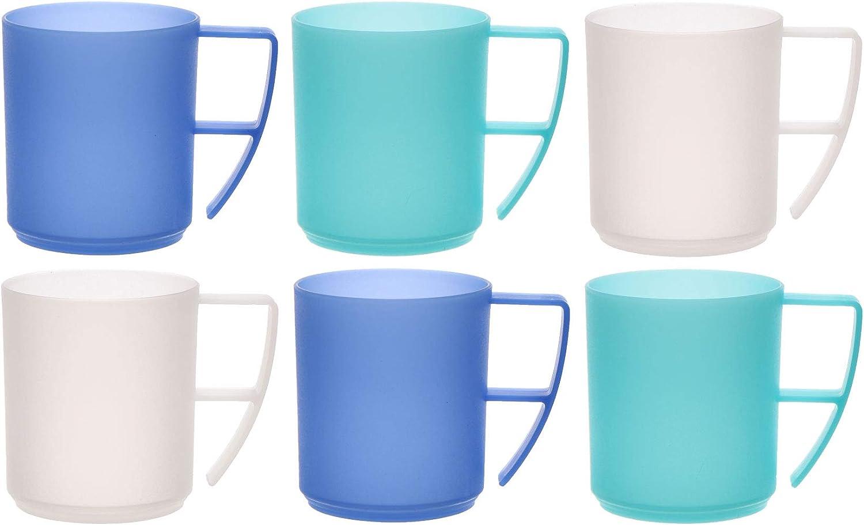 tazze bambini idea-station NEO bicchieri plastica 6 pezzi colorato 350 ml te campeggio infrangibili tazzine rigida caffe riutilizzabili