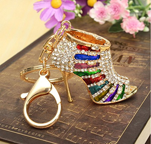 Crystal Rhinestone Diamante Red High Heel Shoe Decoration Chain for Phone Car Bag Key Ring keychain Charm Gift - Perfect for Women Ladies Girls' Phone Key Bag (mix colored&Gold) (High Heel Birthday Decorations)