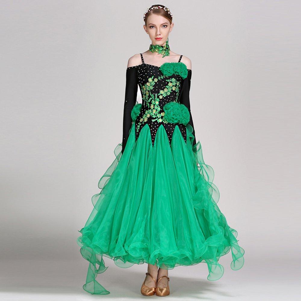 入荷中 女性の手刺繍モダンダンスドレス大きな振り子スカート全国基準ダンスドレスダンスコンペティションパフォーマンスドレスラインストーンダンスコスチュームタンゴワルツスカート Large B07HHX4NF7 Large|Green B07HHX4NF7 Green Green Large, ロイヤルオーダーストア:b1725fb9 --- a0267596.xsph.ru