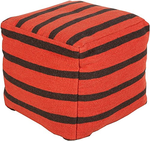 Surya Contemporary Square pouf/ottoman 18''x18''x18'' in Orange Color From Surya Poufs Collection by Surya