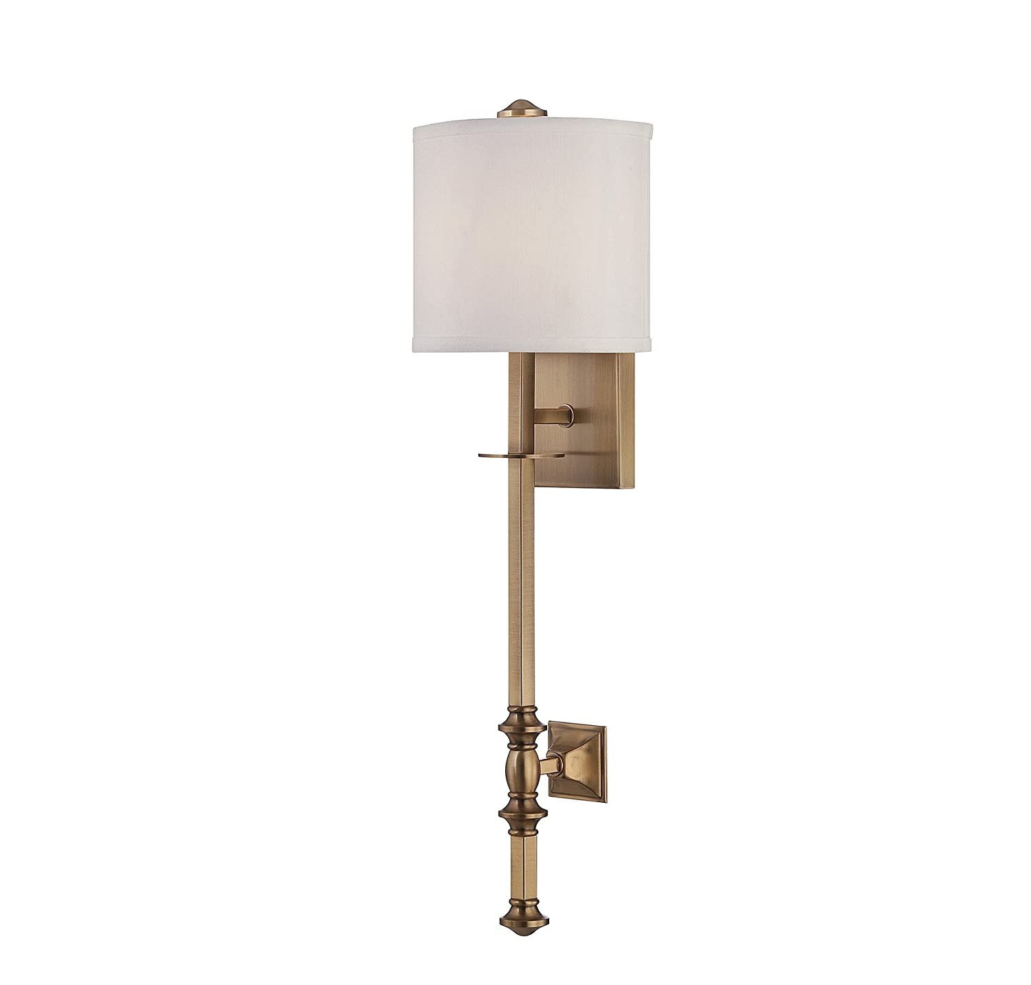 Savoy house 9 7140 1 322 devon 1 light wall sconce with white savoy house 9 7140 1 322 devon 1 light wall sconce with white fabric shade warm brass finish amazon amipublicfo Image collections