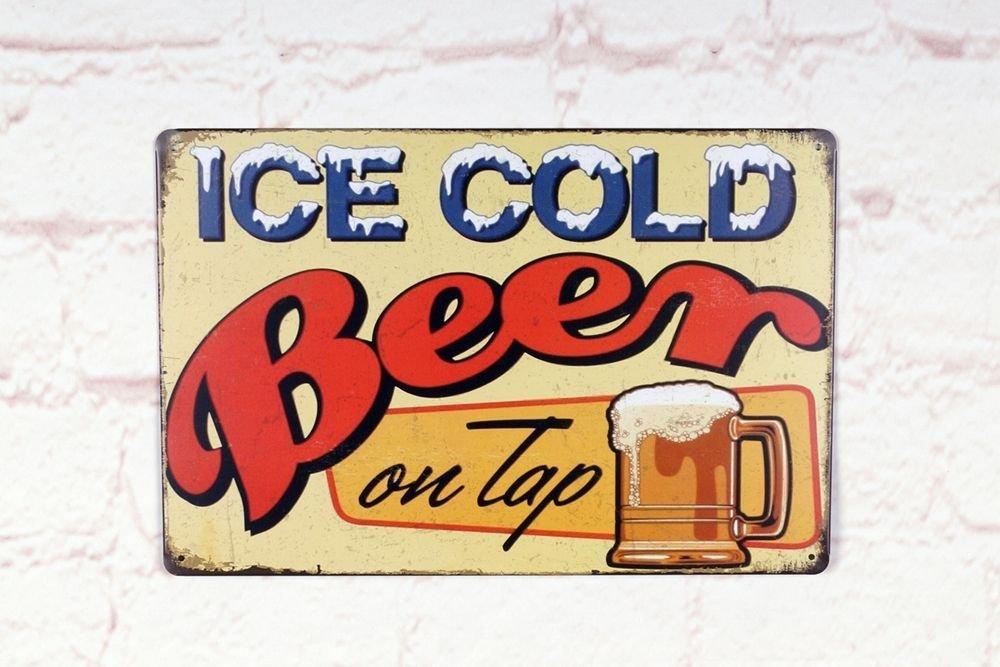 Ice Cold BeerヴィンテージメタルTin Signsバーホームパブ壁装飾プラークプレート B073F4J4DL