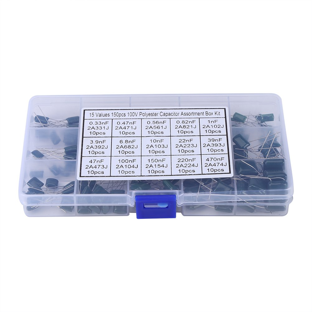 470nF Kit di Condensatore Poliestere per Film Condensatori Poliestere Akozon Condensatori Kit 150pz 100V 15 Value 0,33nF