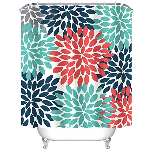 Uphome Floral Fabric Shower Curtain, Colorful Dahlia Pinnata Designed Mildew Resistant Waterproof Polyester Bath Curtain for Bathroom Bathtubs Showers, Orange Blue Teal, 72x72