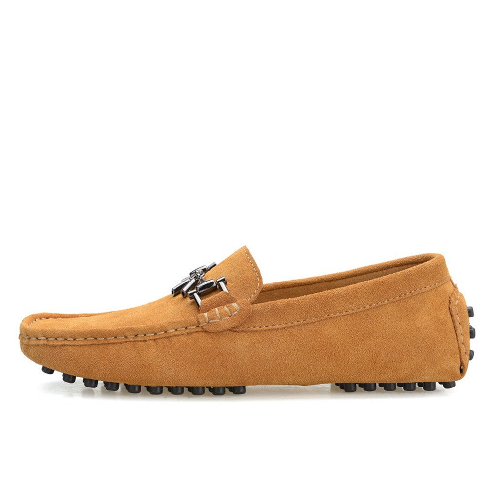 Xiazhi schuhe, Männer Fahren Penny Leder Comfort Loafers Wildleder Echtes Leder Penny Boot Mokassins Studs Sohle mit Metall Dekor, (Farbe : Grau, Größe : 44 EU) Braun 78085b