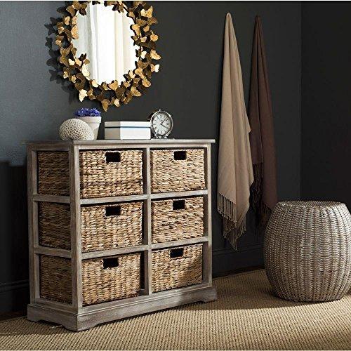 Safavieh American Homes Collection Keenan Vintage White 6 Wicker Basket Storage Chest ()