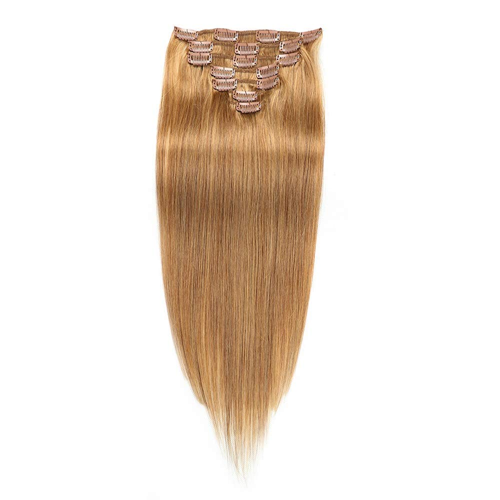 Kathleen Chance 100% Brazilian Wigs 22 Inch Clip In - #12 Blonde Full Head Double Weft Straight Hairpiece (Color : #12 blonde)
