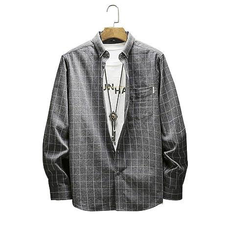 FFyy J Camisa de Manga Larga para Hombre Camisa de Franela a ...