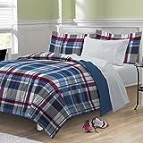 My Room Varsity Plaid Ultra Soft Microfiber Comforter Bedding Set, Multi-Colored, Twin