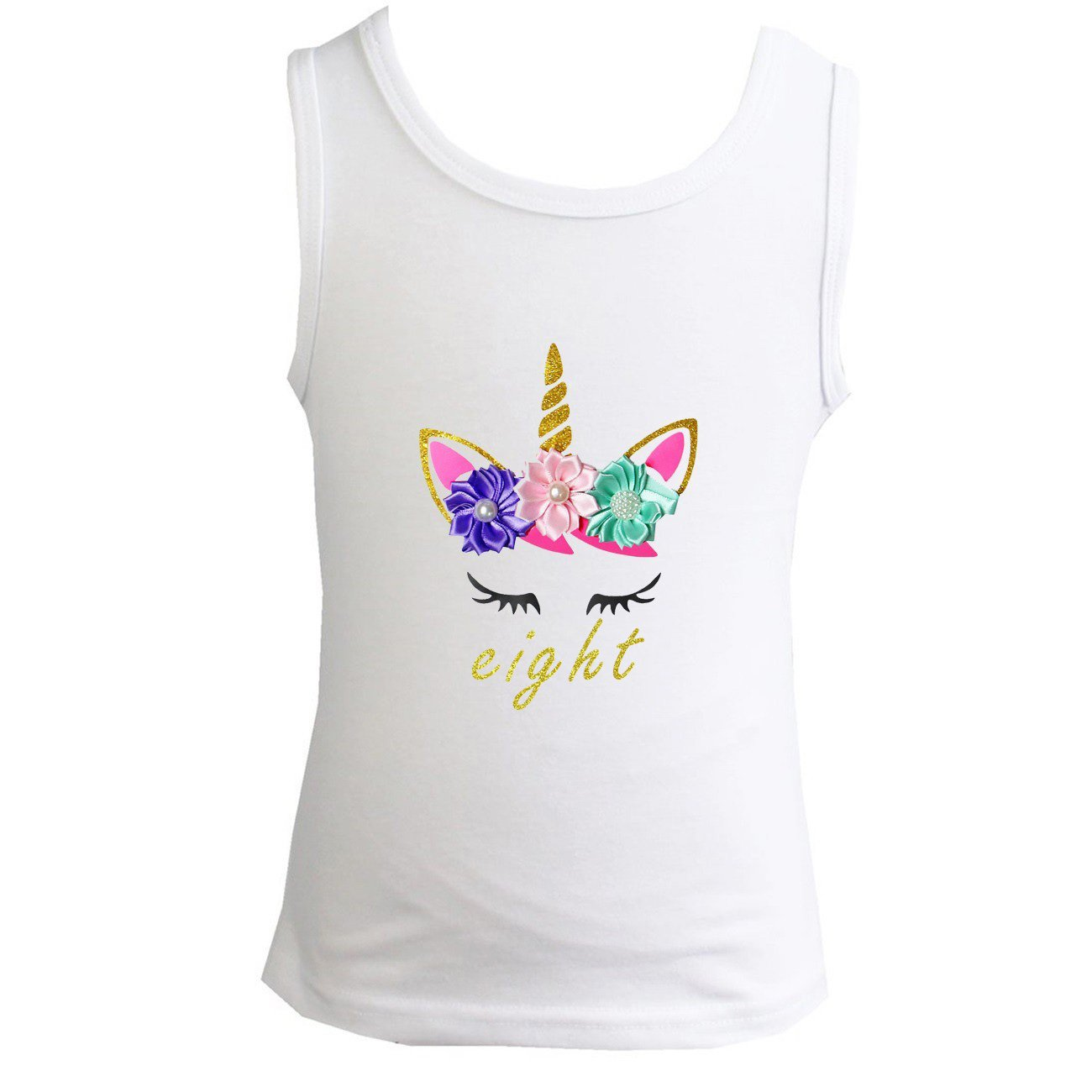 Kirei Sui Girls 1st ~ 10th Birthday Lavender Pink Mint Flowers Unicorn Tank Top DUCF1